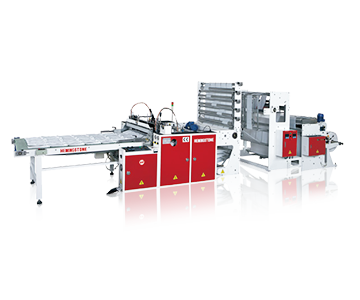 Super High Speed 5 Lines Bottom Sealing Bag Making Machine with Hot Slitting & Servo-drive System(1000 pcs/min)(Non Stop)