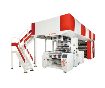 Computerized servo controlled central impression flexographic printing machine, with anilox and printing sleeves systems.